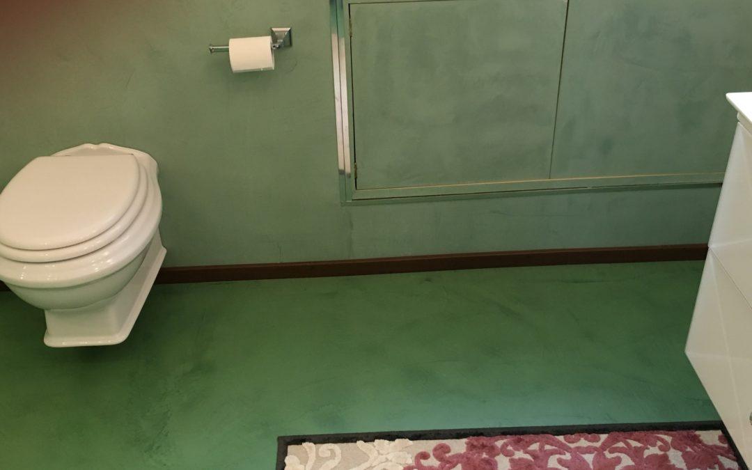 Bagno Verde in Resina e Microcemento